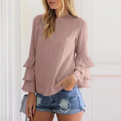 Blouse Women Casual Loose Solid Fol..