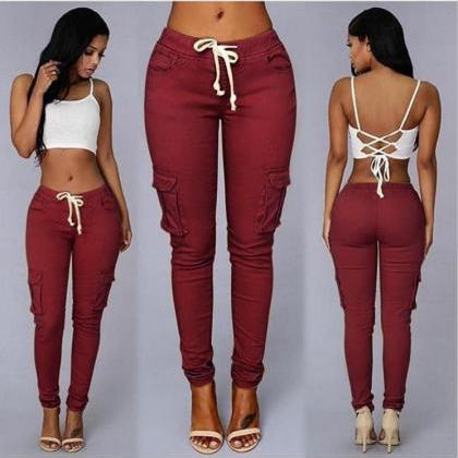 Trousers Women Slim Casual Lace Up ..