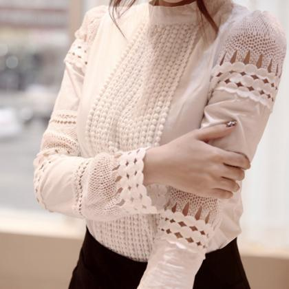 Hollow Long-Sleeved White Shirt Blo..