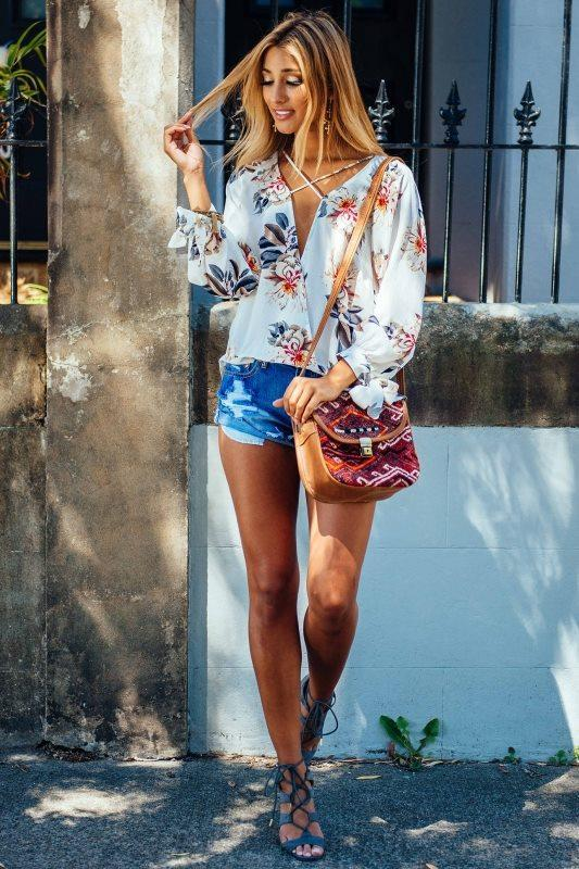 Floral Print Chiffon Lace-Up Plunge V Long Cuffed Sleeves Blouse