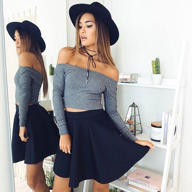 Ribbed Off-The-Shoulder Long Sleeves Crop Top
