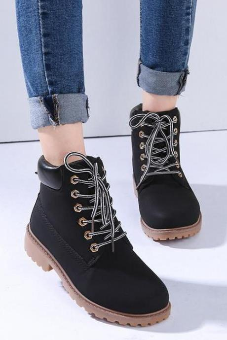 2017 New Fashion Women Black Lace Up Martin Boots Ankle Booties