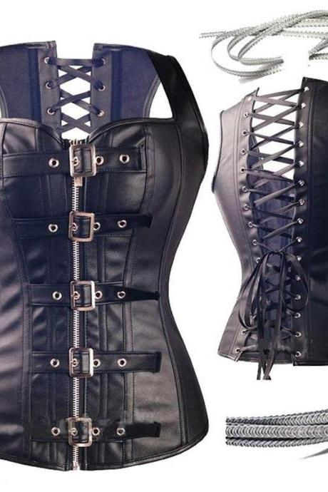 Corset Women Black Slim Court Sexy With Multi Buckle