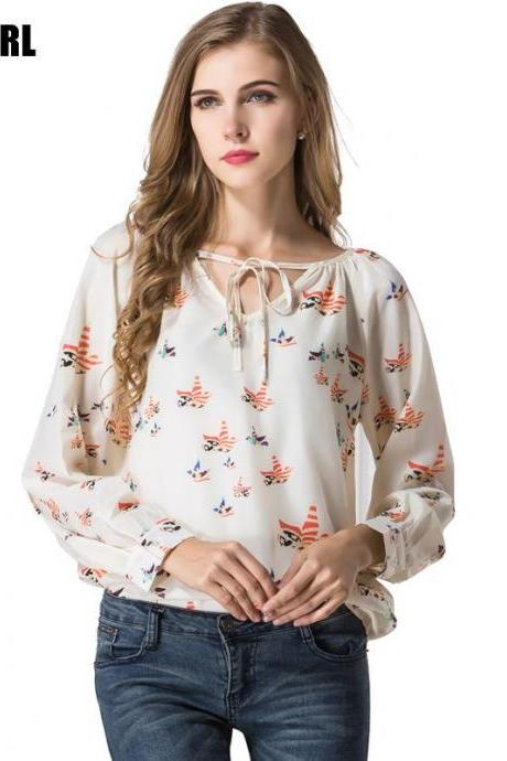 Womens Autumn New Fashion Flying Bird Printed Long Sleeve Chiffon Blouse