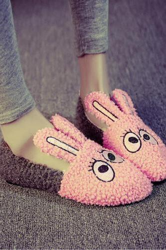 Women's Wool Flat Heel Round Toe Assorted Colors Cartoon Rabbit Loafers