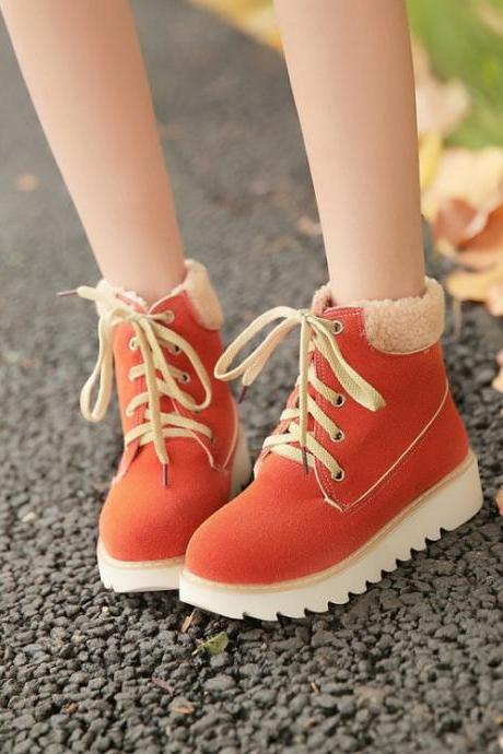 Women's Pure Color Flat Heel Round Toe Crossed Lace Wool Martin Boots