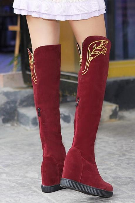 Women's Pure Color Inside Heighten Suede With Back Zippers Leaf Long Boots