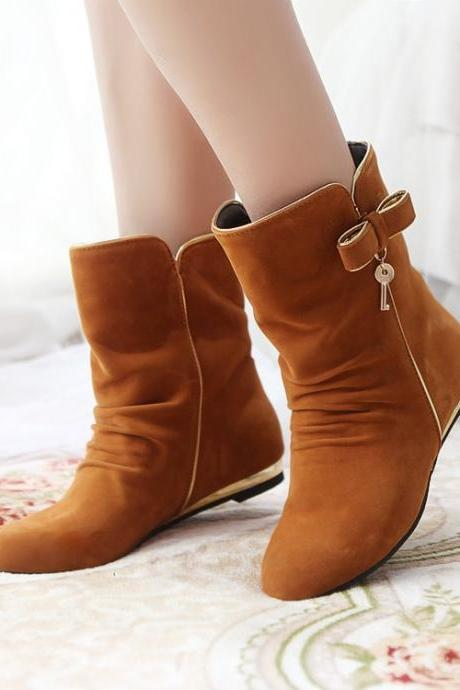Women's Pure Color Flat Heel Suede Bowknot Key Short Martin Boots