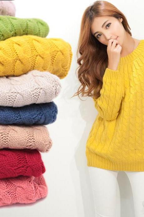 2015 Women Sweaters And Pullovers Casual Long sleeve O-neck Twist Knitted Christmas pullover