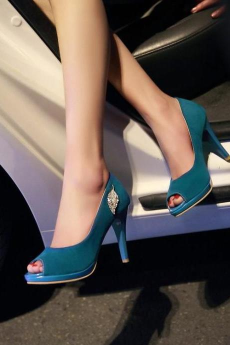 Women's Pure Color Thin Heel Fake Diamond Suede Pumps