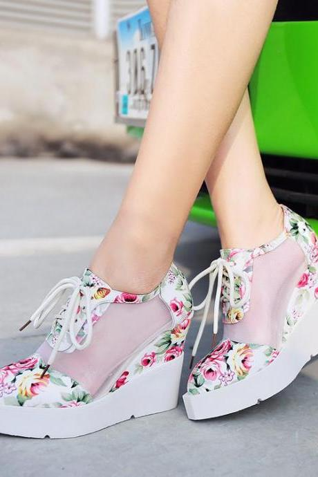 Women's Assorted Color High Heel Wedge Heel Shoelace Sneakers