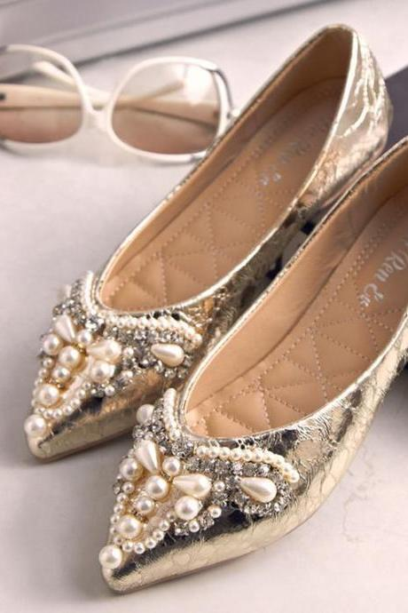 Women's Pure Color Flat Heel Fake Diamond Bead Ballerinas