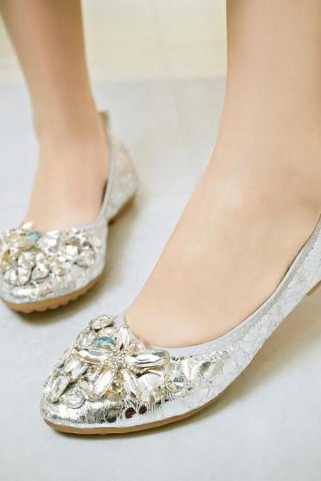 Women's Pure Color Flat Heel Fake Diamond Ballerinas