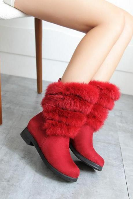 Women's Pure Color Round Toe Ankle Boots
