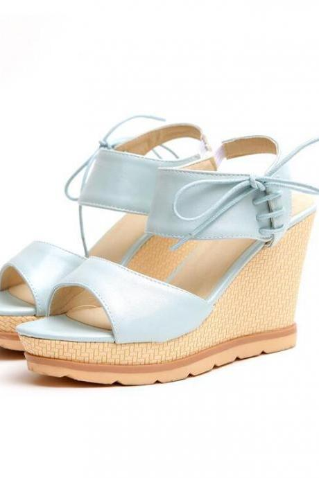 Women's Pure Color Sweet Fashion Comfortable Tied Wedge-soled Shoes