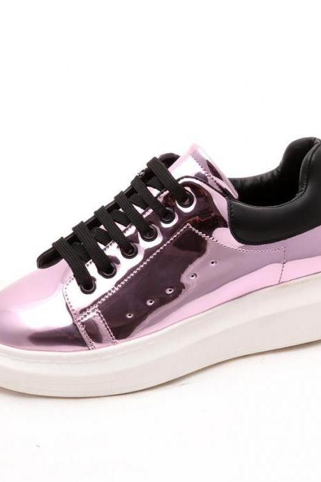 Metallic Lace-Up Leather Sneakers with Thick Rubber Soles