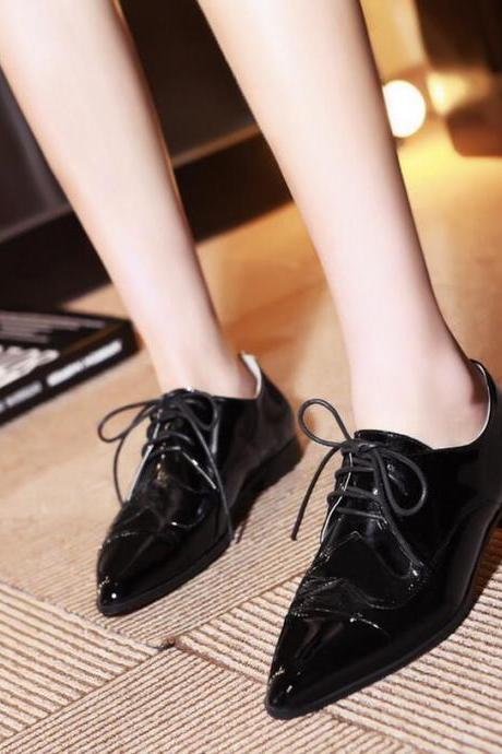 Flats Women Fashion Patent Leather Tied Thick Heel Monk Solid Pointed Toe