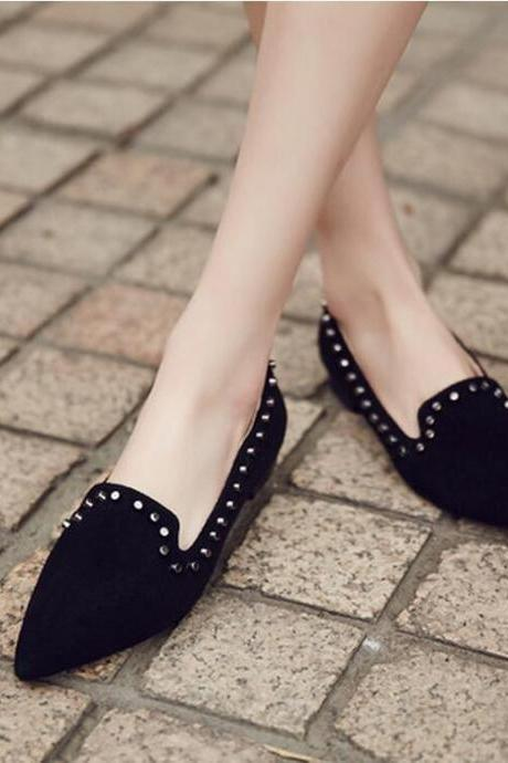 Pointed-Toe Flat Loafers with Stud Detailing