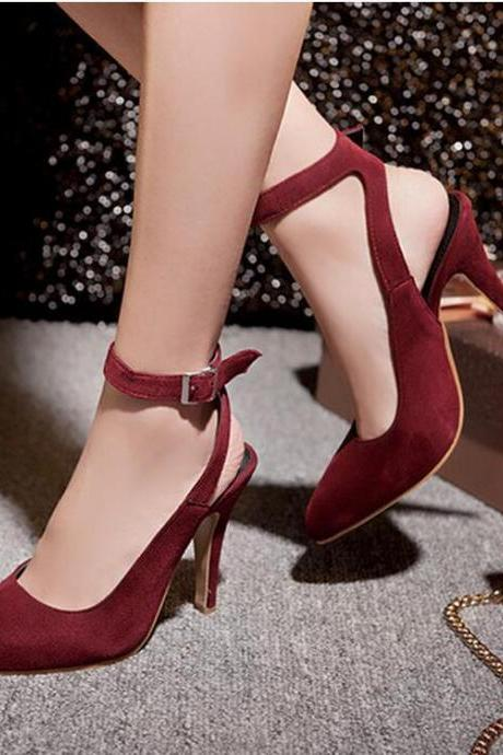 Pure Colour Pointed-Toe Ankle Strap Stilettos, High Heels