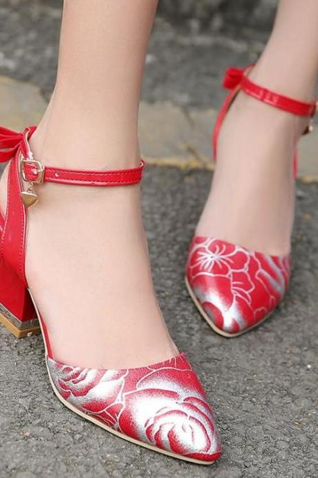 Women Sexy Bow Floral Printed Pointed Toe Bowtie Sandals