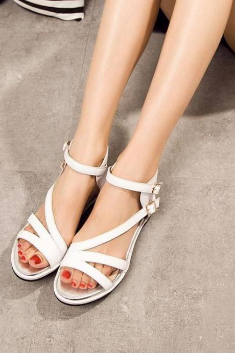 Women Hasp Wedge Open Toe Flat Heel Ankle Strap Sandals