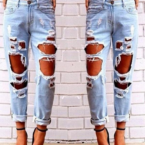 Jeans Women Sexy Loose Hole Rip