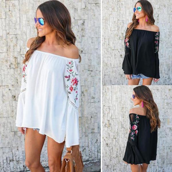 Women Off Shoulder Floral Printed Tops Loose Flare Sleeve Casual T-shirt Blouse