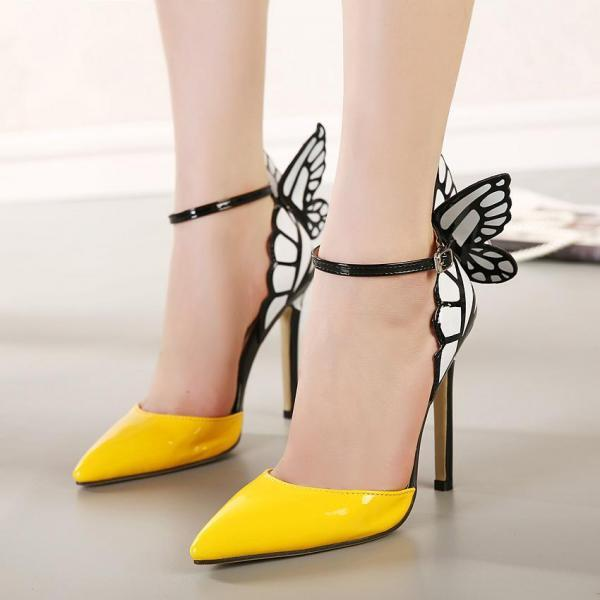 2018 Women colorful butterfly pointed toe wedding high heels pumps