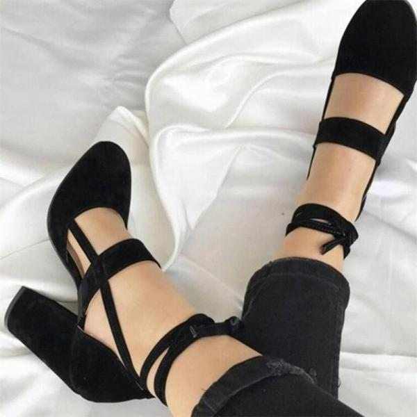 Black High Heels Sandals Pumps With Ankle Straps