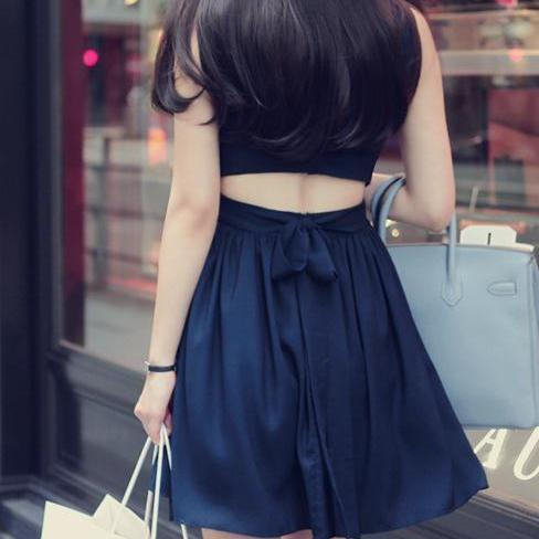 Backless Sleeveless Chiffon Dress Vest Bind Women Cultivate One'S Morality Dress