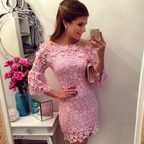Fashion Pink Lace Dress Lace Sleeve Mini Dress Lace Dresses Party Dresses Cocktail Dresses Eveening Dresses Prom Dresses Short Dresses