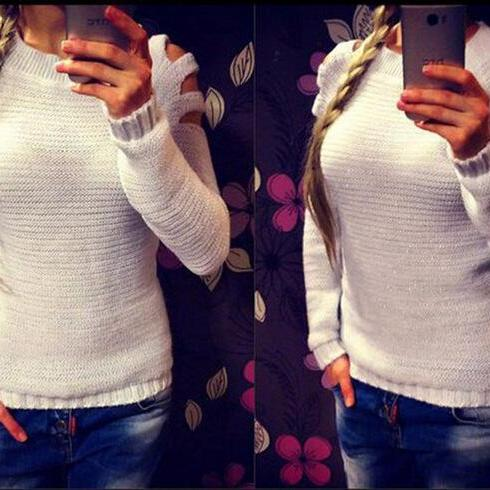 2015 Women Autumn & Winter Warm Long Sleeve Shoulder Hollow Out Sexy Knit Sweater White Fashion Knitted Pullover