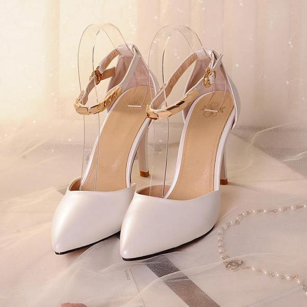 Pointed-Toe Ankle Strap Stiletto Pumps with Metal Detailing